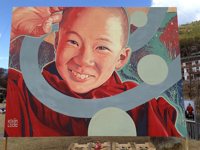mural/ installation done for bhutan international festival, in thimphu, bhutan. 16x12 feet