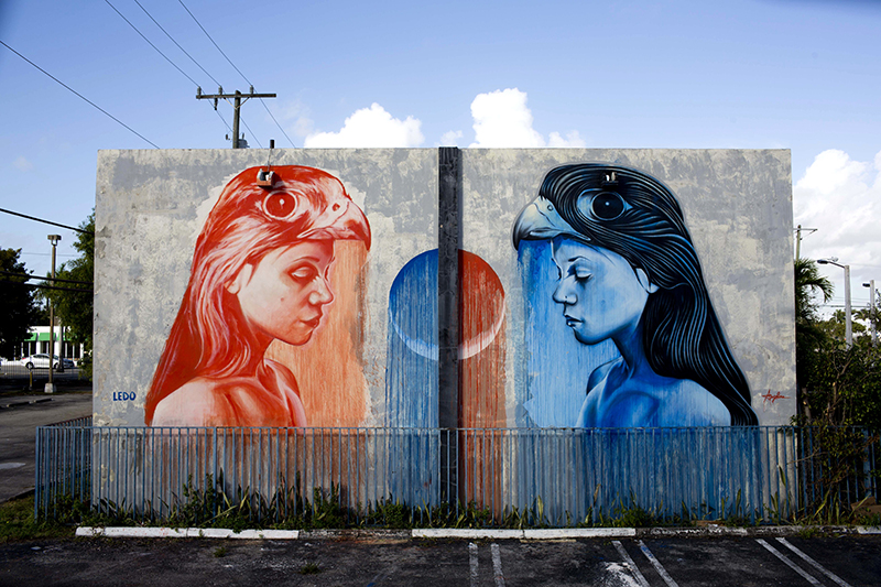 'medicine falcon' a collaboration between Angelina Christina and Kevin Ledo, wynwood miami